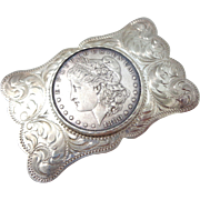 Vintage 1880-o Morgan Dollar Sterling Silver Belt Buckle Hold Stephen