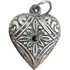 Vintage Repousse Red Stone Sterling Silver Puffy Heart Charm