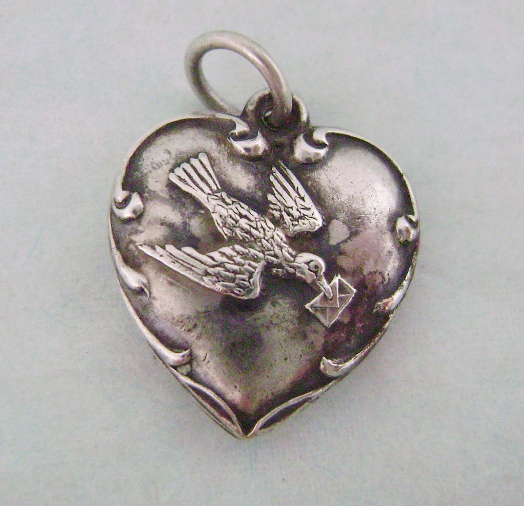 Early Sterling Puffy Heart Messenger Bird with Letter Engraved 'Betty'