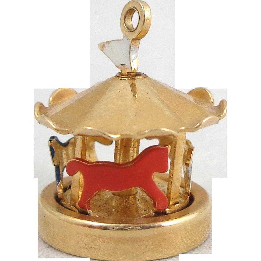 Vintage 14K Gold Enamel 3D Mechanical Carousel Charm