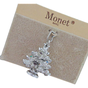 Vintage MONET Rhinestone Christmas Tree Charm Original Card