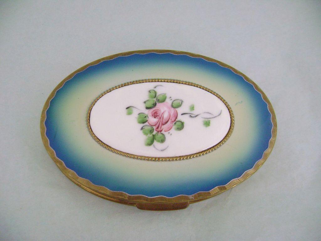 Vintage REX 5TH AVENUE Guilloche Enamel Floral Rose Compact