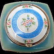 Vintage Evans Hand Painted Guilloche Blue White Enamel Double Compact