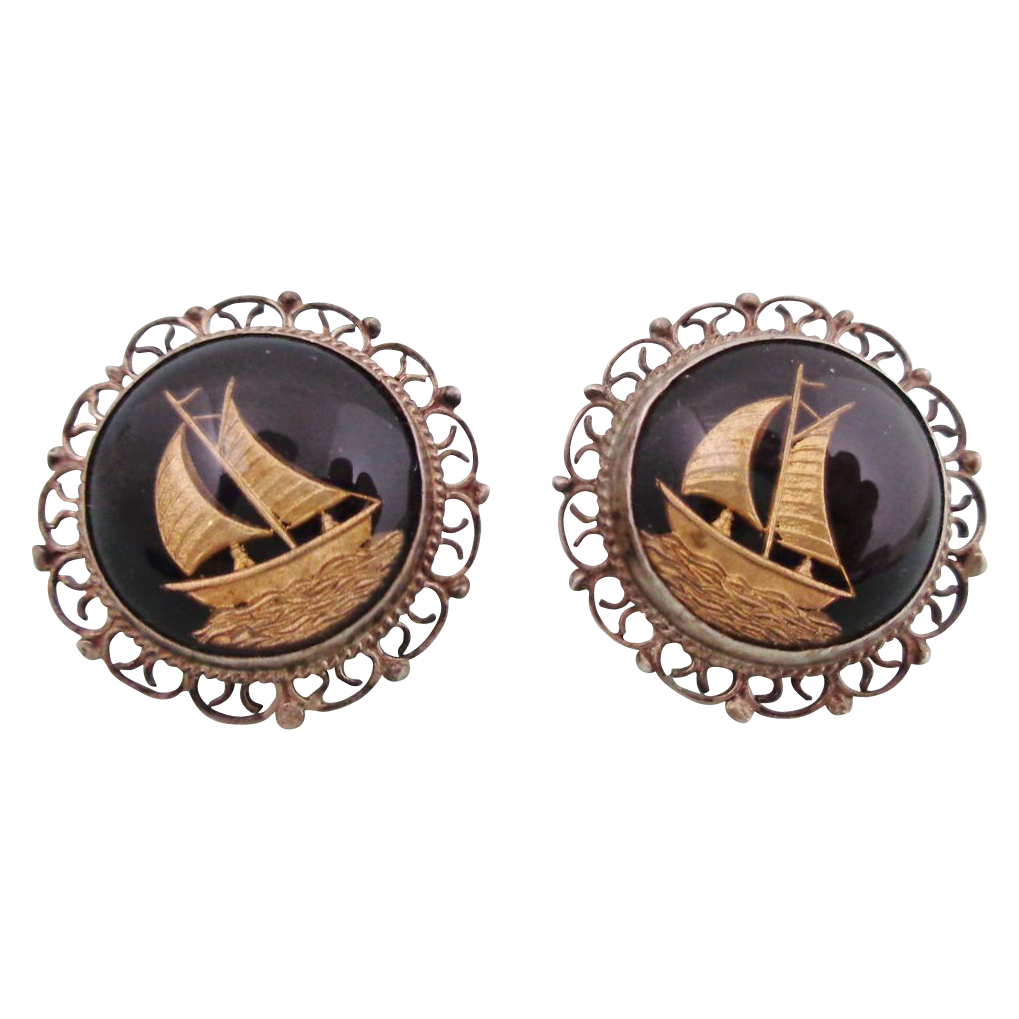 Early Sterling Mexico Reverse Painted Glass Ships Earrings