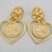 Vintage ANNE KLEIN Celestial Moon & Stars Earrings