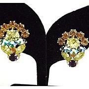 Vintage Dimensional Springtime Flower Rhinestone Earrings