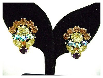 Vintage Dimensional Springtime Flower Rhinestone Earrings
