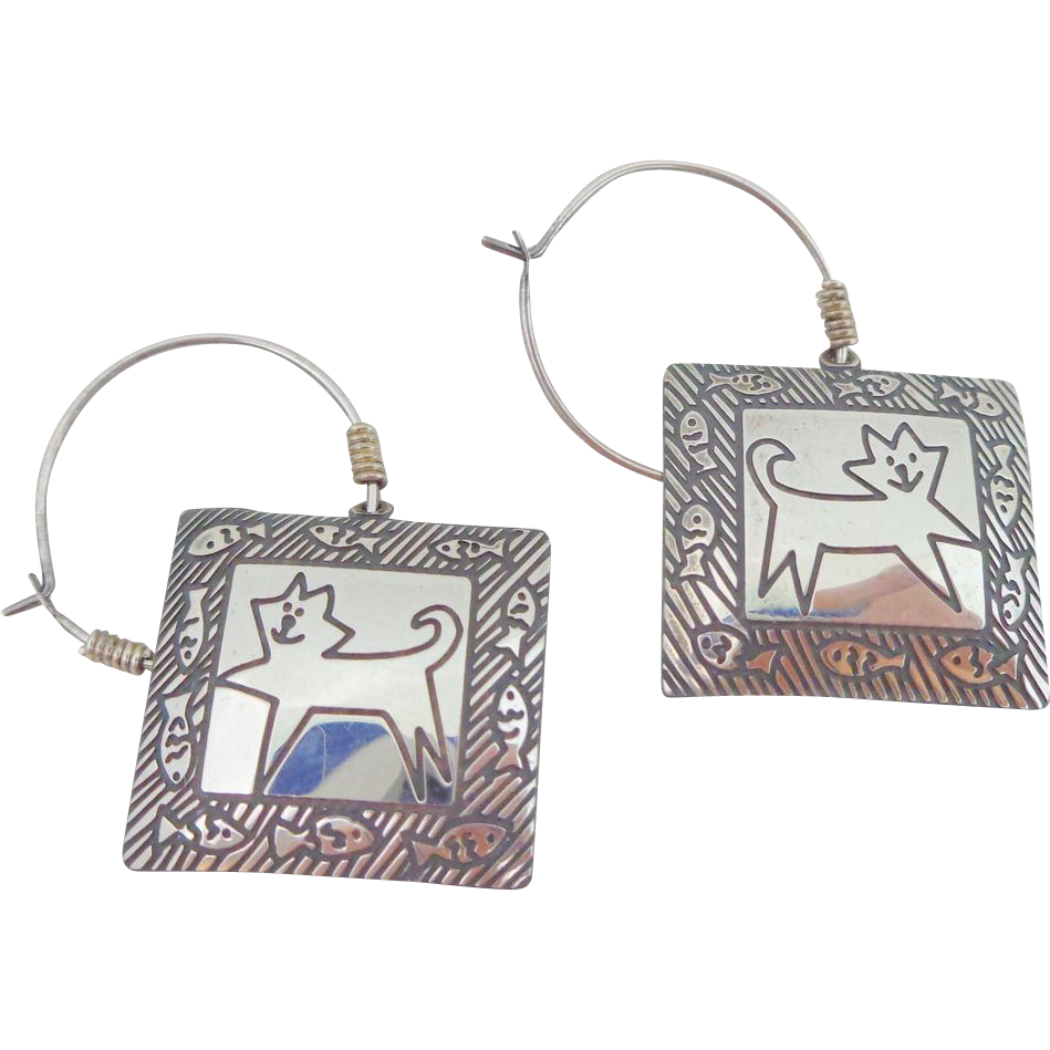 Vintage BEREBI Sterling Silver Whimsical Cats and Fish Earrings