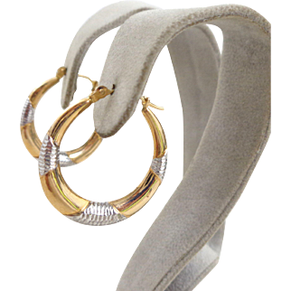 Estate 14K Yellow and White Gold Diamond Cut Accents Hoop Earrings