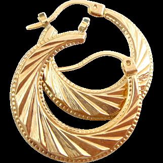 Estate 14K Gold Dynamic Geometric Hoop Earrings