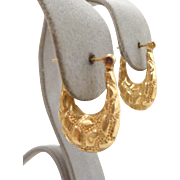 Estate 14K Yellow Gold Pebbled Hoop Earrings