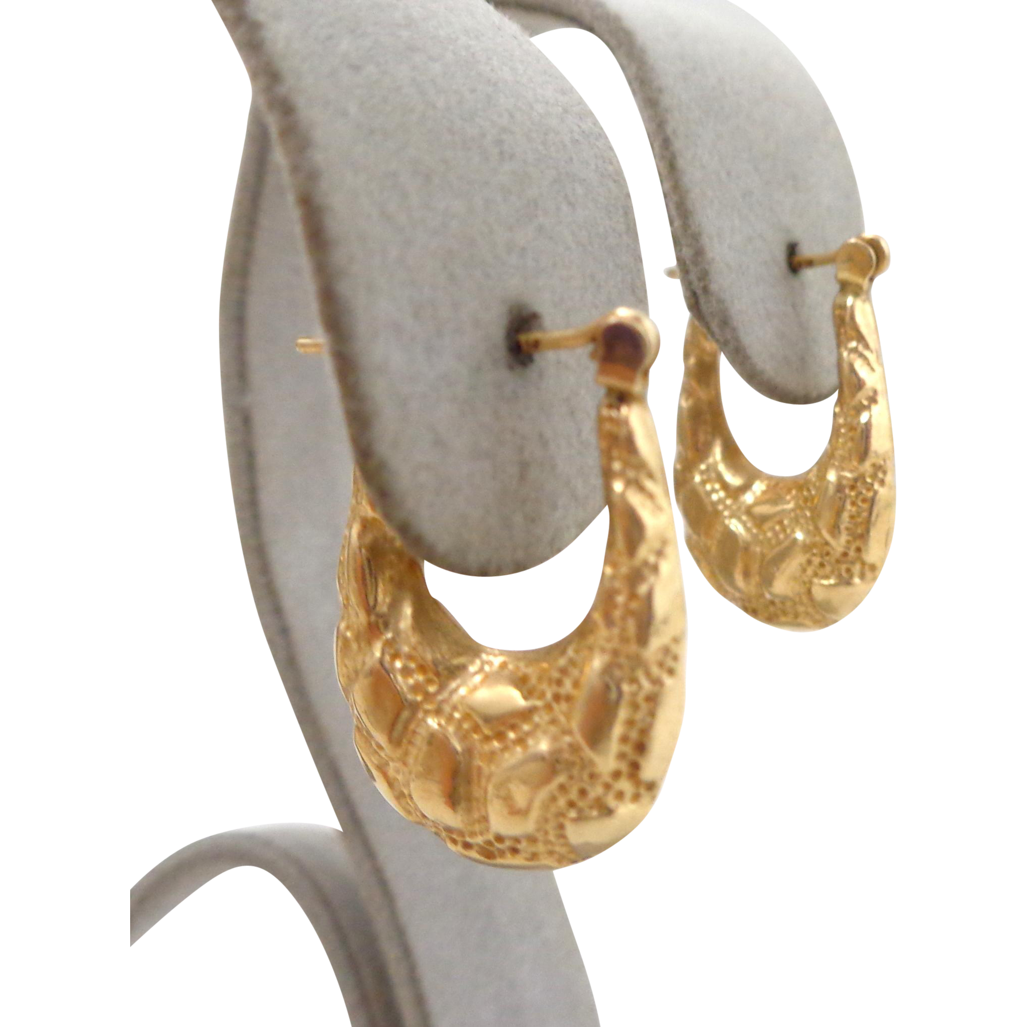 Estate 14K Gold Pebbled Hoop Earrings