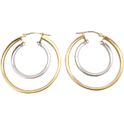 Estate 14k Yellow White Gold Double Circle Articulated Hoop Earrings
