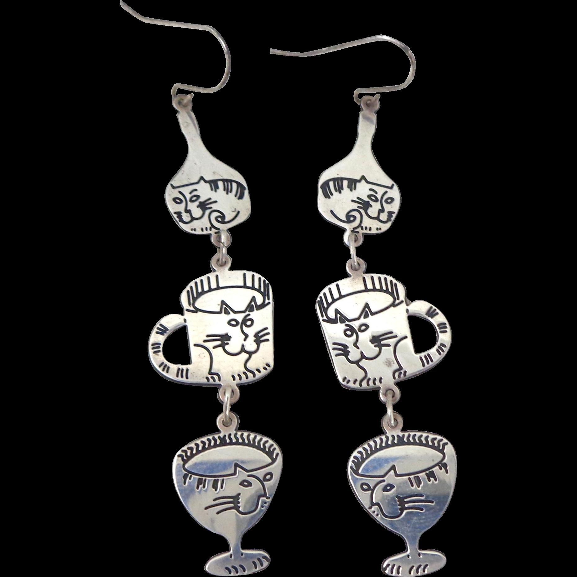 Whimsical Vintage Berebi Sterling Silver Dangling Cat Earrings