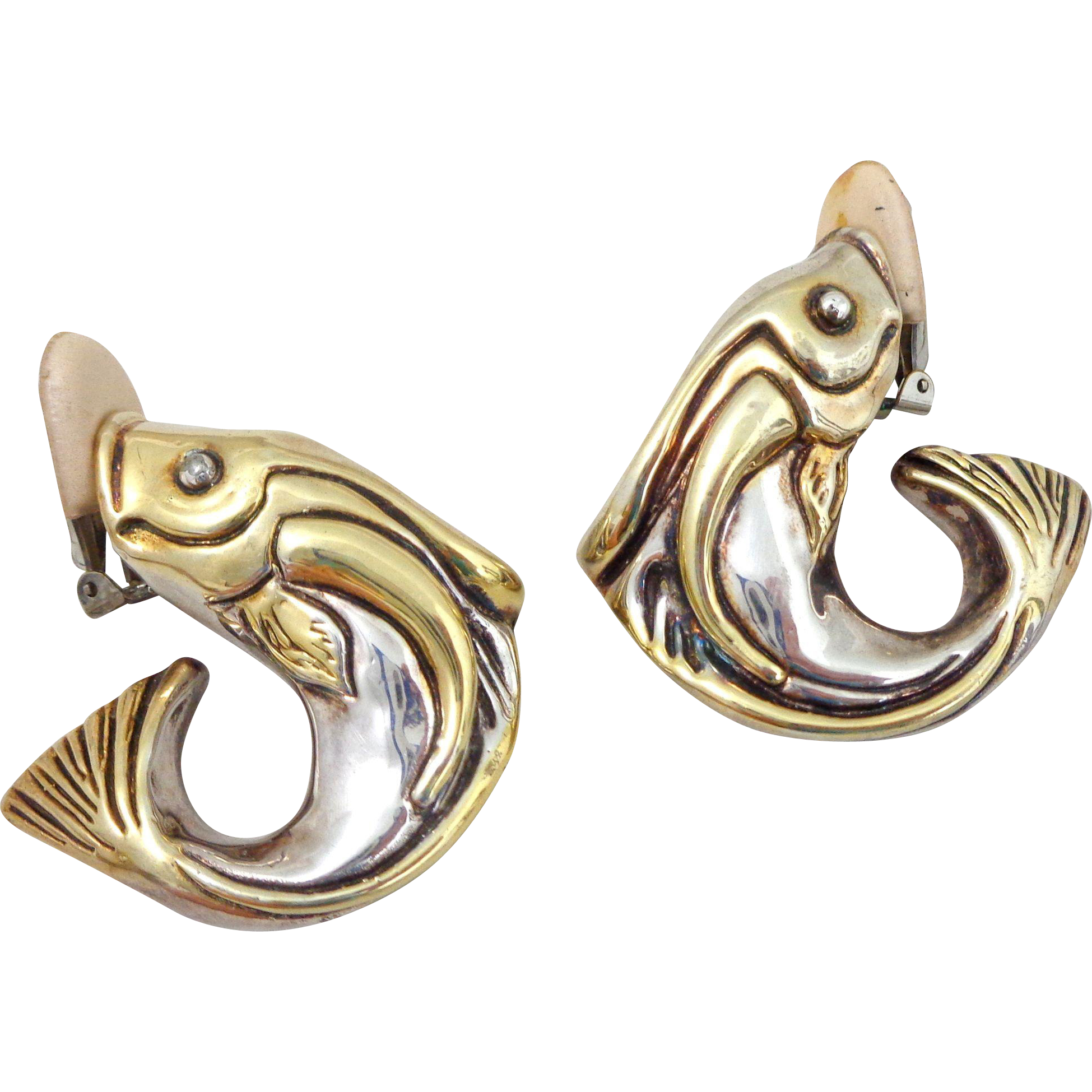 Exquisite Modernist Designer Frederic Jean Duclos Whimsical Sterling Fish Clip Earrings
