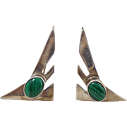 Vintage 1993 CAROL FELLEY Sterling Silver Malachite Bird Earrings