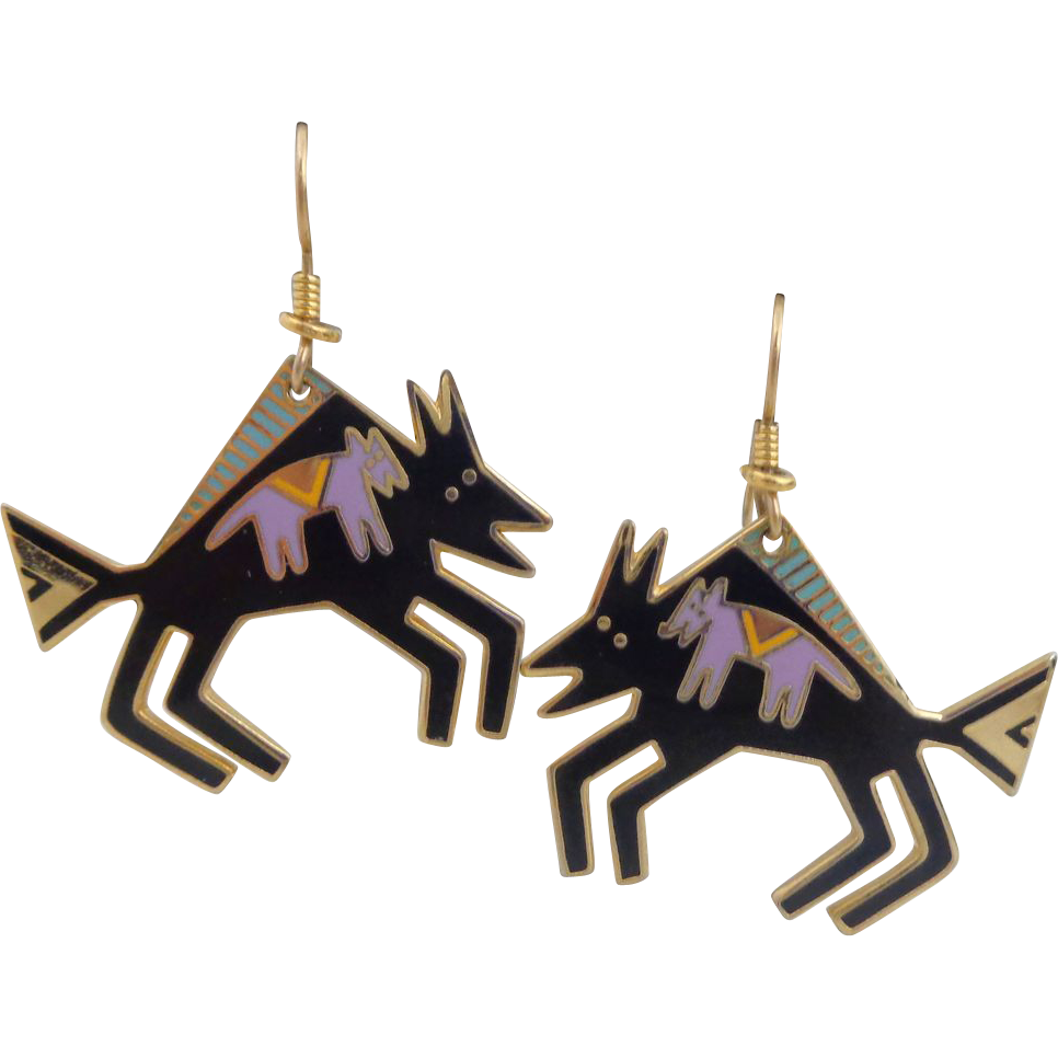 Vintage LAUREL BURCH Southwestern Enamel 'Bison' Earrings