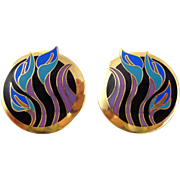 "Vintage LAUREL BURCH ""Lilies for Les"" Cloisonné Enamel Earrings"