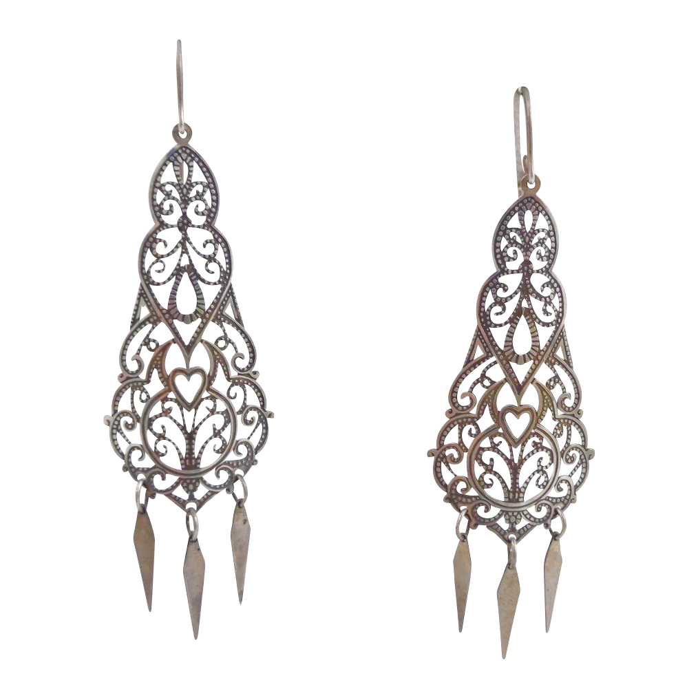 Vintage Sterling Silver Artisan Ornate Dangling Earrings
