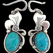 Sterling Silver Native American Turquoise Flower Earrings