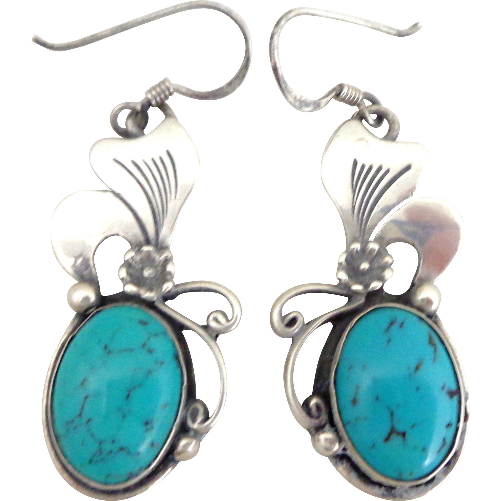 Sterling Silver Native American Turquoise Flower Earrings