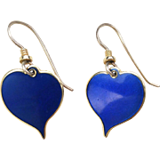 "Vintage LAUREL BURCH ""Yoel"" Blue Enamel Heart Drop Earrings"