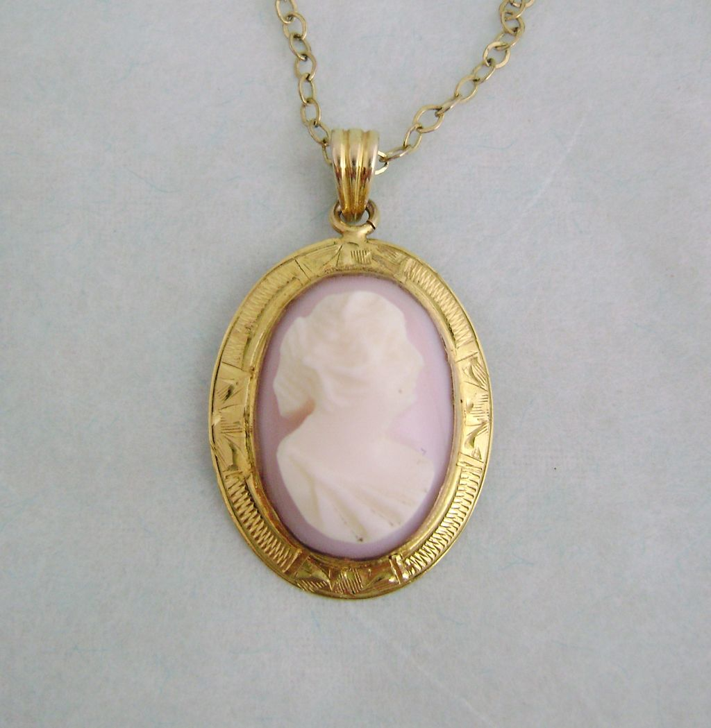 Vintage dainty 10k gold pink shell cameo necklace sold on for 10k gold jewelry