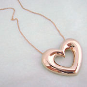14K Rose Gold Open Heart with 10K Chain Estate
