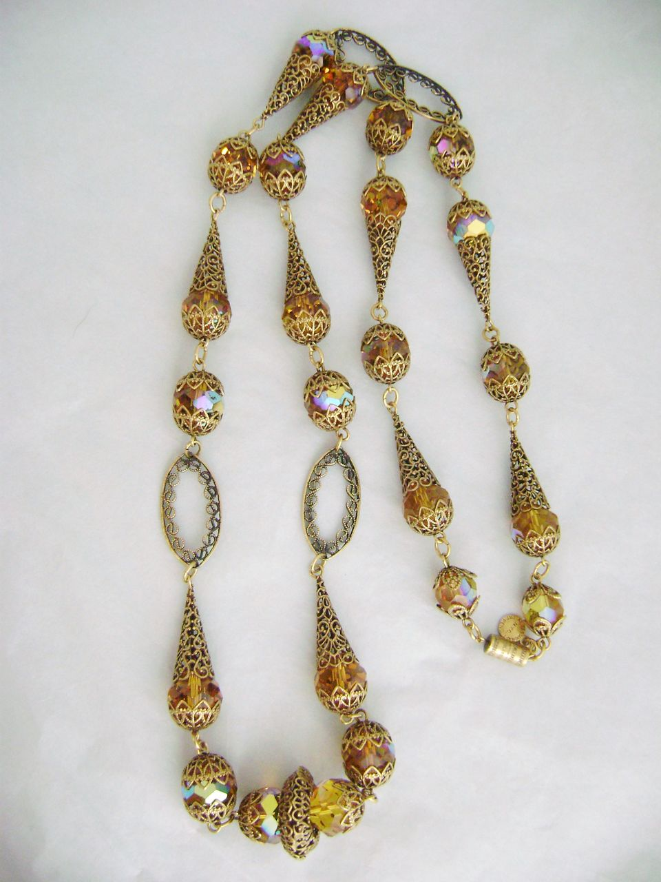 Vintage Exquisite ACCESSOCRAFT Crystal & Filigree Cones Necklace