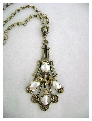 Early Baby Tooth Pearl & Flowers Victorian Revival Lavalier