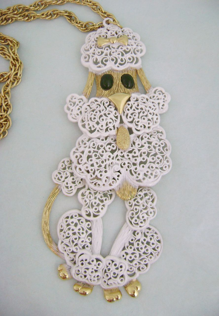 Huge Vintage Fancy Filigree Articulated French Poodle Necklace