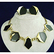 1980's MONET Art  Deco Style Black Enamel Necklace & Earrings
