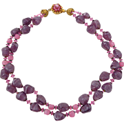 Vintage MIRIAM HASKELL Purple Pink Art Glass Crystal Double Strand Necklace