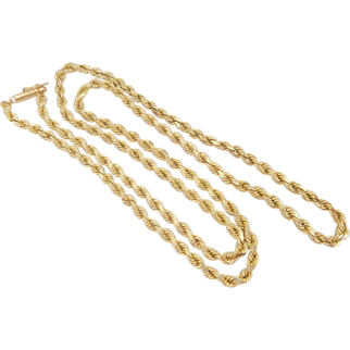 "Estate Heavyweight 14K Gold 24"" Diamond Cut Rope Chain Necklace Unisex"
