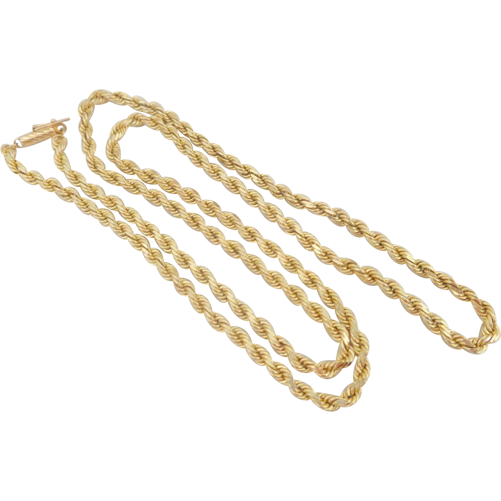 "Estate Heavyweight 14K Gold 24"" Diamond Cut Rope Chain Necklace Unisex"