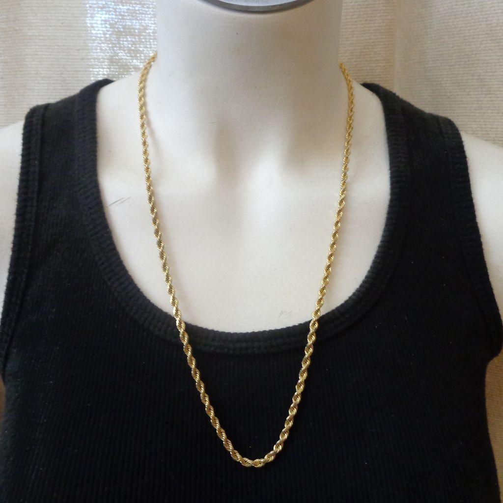 Estate Heavyweight 14k Gold 24 Quot Diamond Cut Rope Chain