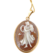 Estate 14K Carved Shell Cameo Pendant on 10K Gold Italian Box Chain