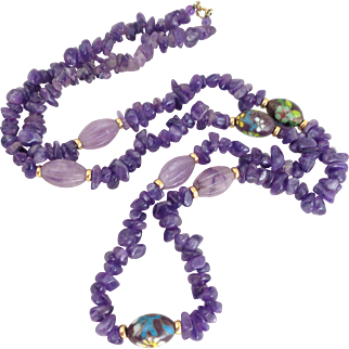 Vintage Carved Purple Jade Amethyst Polished Stones and Cloisonne Bead Necklace