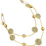 Vintage ANNE KLEIN Long Lucite Fern Beads Necklace