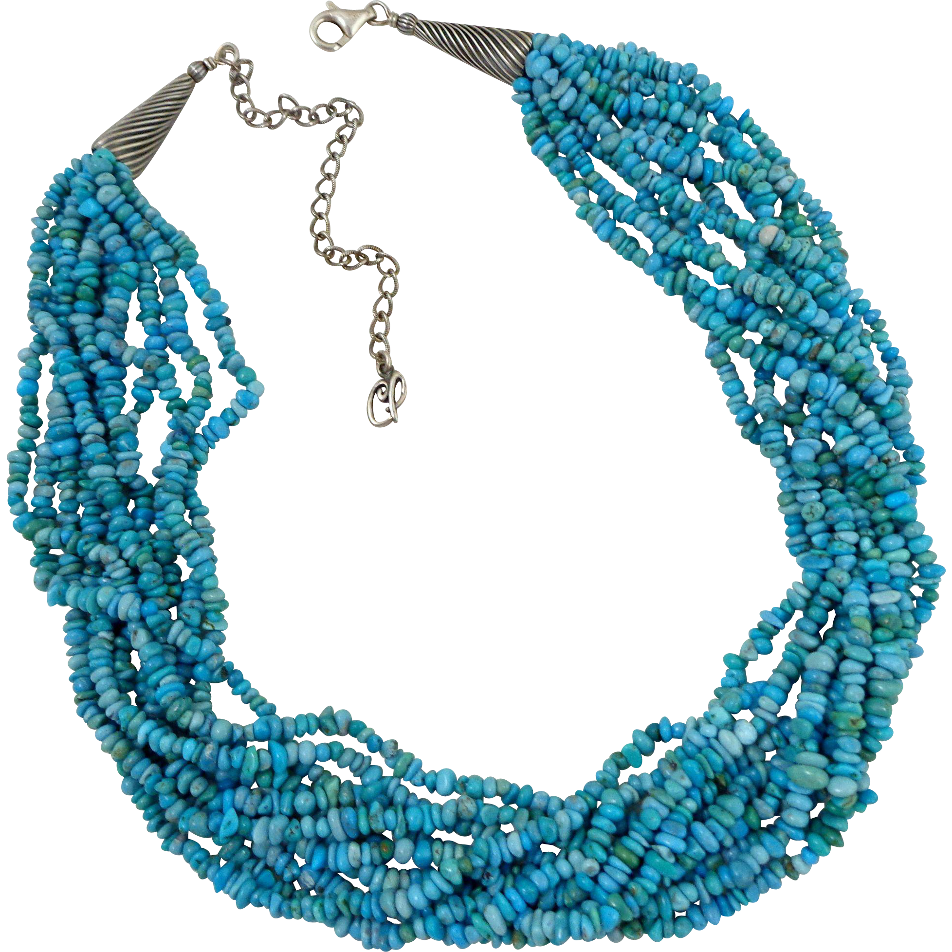 CAROLYN POLLACK 10 Strand Turquoise & Sterling Torsade Necklace