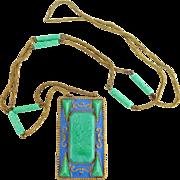Early Art Deco CZECHOSLOVAKIA Peking Glass Filigree Enamel Necklace
