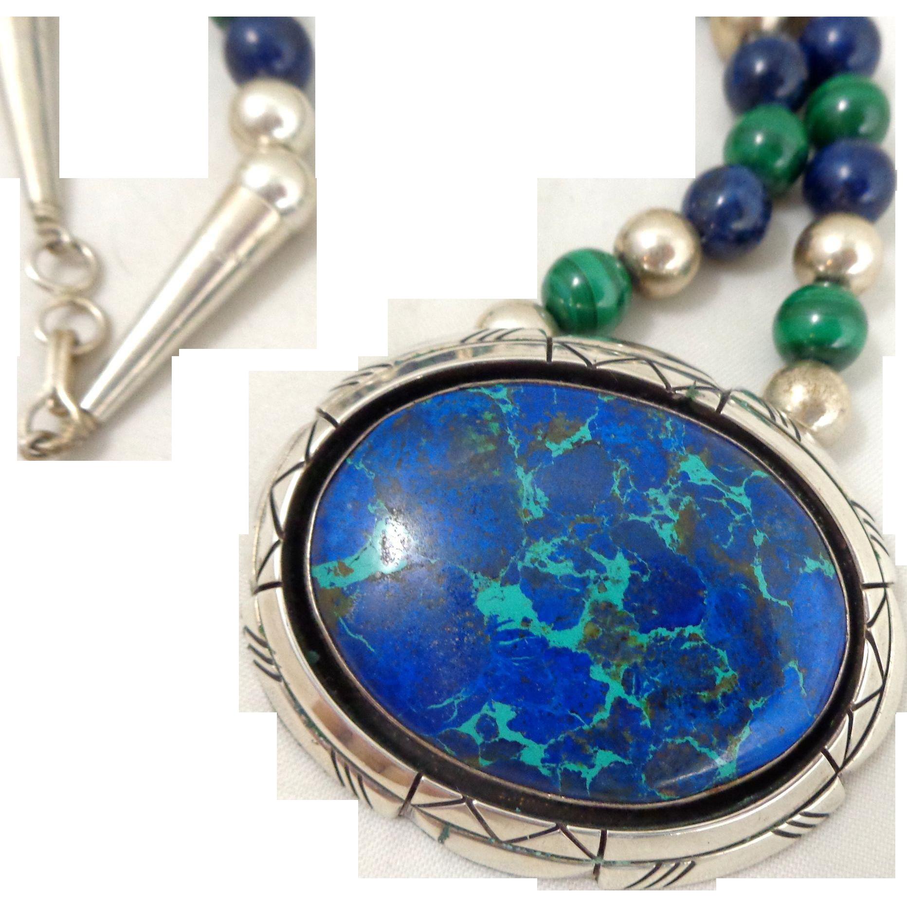 Vintage D. Delgarito Navajo Sterling Silver Chrysocolla Malachite Lapis Necklace