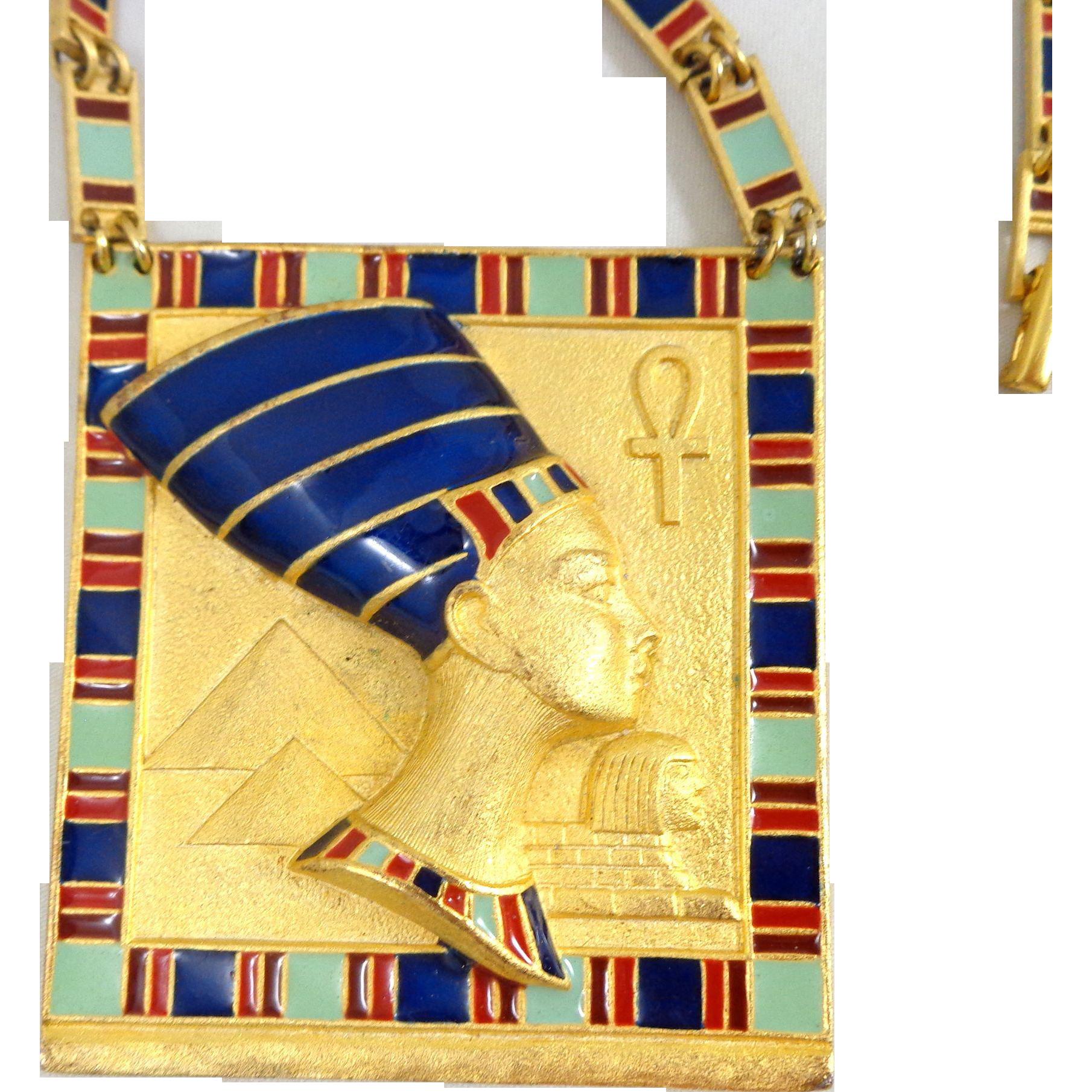 Vintage Egyptian Revival Nefertiti Enamel Link Necklace