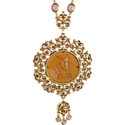 Vintage GOLDETTE Cupid Intaglio Cameo Necklace