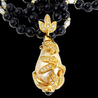 Huge Vintage KENNETH JAY LANE KJL Simulated Baroque Pearl & Crystals Enhancer