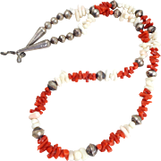 Vintage NATIVE AMERICAN Red & Angel Skin Coral Sterling Silver Beads Necklace