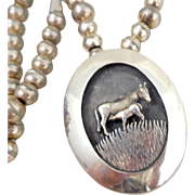Vintage Native American Sterling Silver Horse & Foal Shadowbox Necklace Pendant Pin