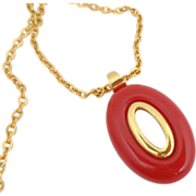 Vintage TRIFARI Mod Red Lucite Necklace