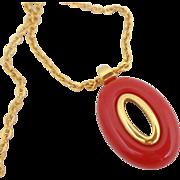 Vintage TRIFARI Mod Red Lucite Necklace