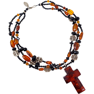 Estate One of a Kind KIM YUBETA Three Strand Sterling Amber Black Bead Cross Necklace